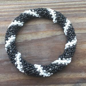 Jewelry - 2 for $20 Black White striped seed bead bracelet